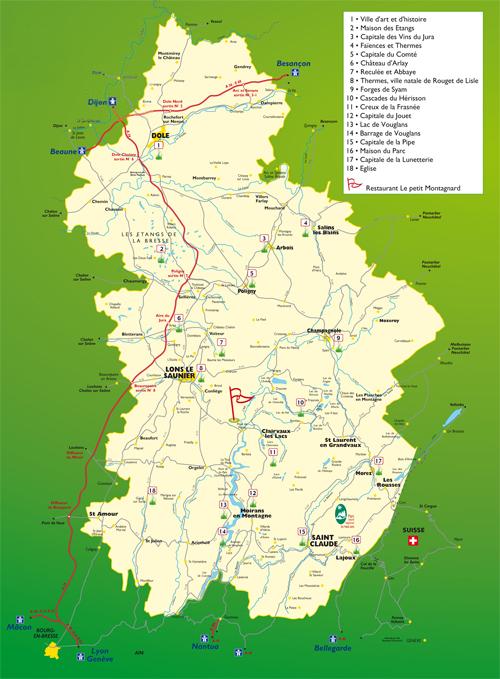 carte touristique du jura Restaurant le petit Montagnard, découverte du Jura, Restauration